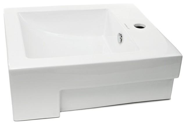 Square Semi-Recessed Ceramic Bathroom Sink - Contemporary - Bathroom on non recessed bathroom sinks, vessel sinks, semi recessed basins, wall recessed sinks, semi recessed kitchen lighting, semi recessed stainless steel, semi recessed shower, rounded exposed front sinks, semi recessed tubs, semi recessed medicine cabinets,