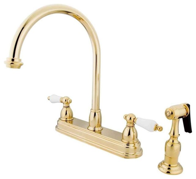 "Restoration Two Handle 8"" Kitchen Faucet With Brass Sprayer, Polished Brass."