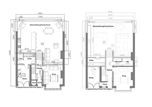 Layout of ground floor open plan for Ground floor house plan