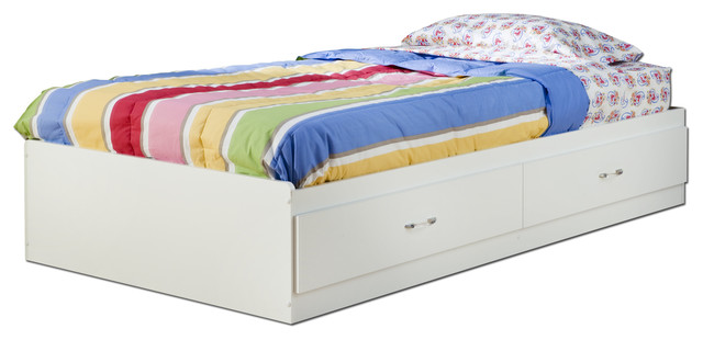 South Shore Logik Twin Mates Bed 39&x27;&x27; With 2 Drawers, Pure White.