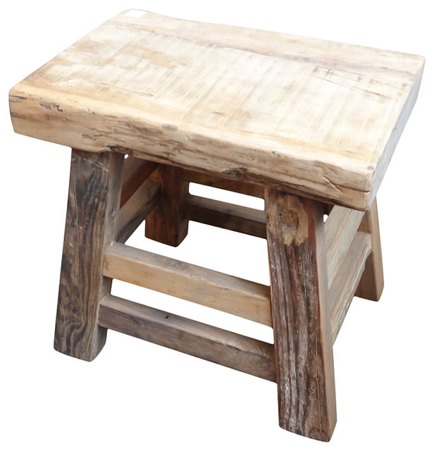 Reclaimed Wood Slab Stool rustic-accent-and-garden-stools - Shop Houzz Design Mix Furniture Reclaimed Wood Slab Stool