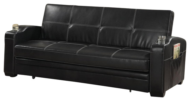 Faux Leather Sofa Bed Sleeper Lounger With Storage Cup Holders Pop Up Trundle