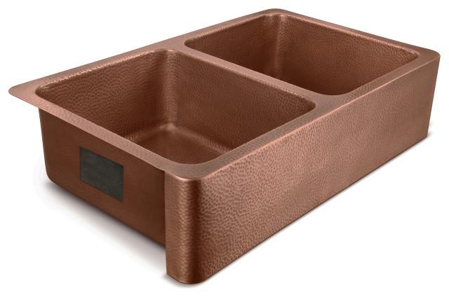 """Moran Farmhouse Apron-Front Handmade 36"""" Double Bowl Sink, Antique Copper"""