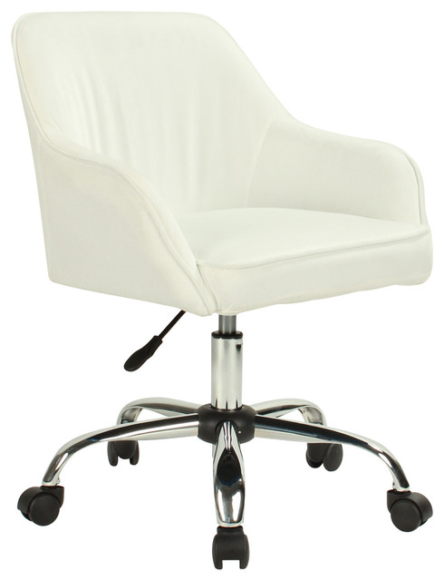 Mid Back Velvet Office Chair With Padded Seat And Lumbar Support White