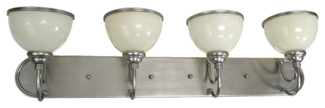 Brushed Steel 4 Light Bath Wall Fixture Traditional