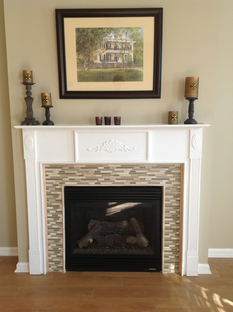 Wood Look Tile On The Floor And Glass Mosaic On Fireplace
