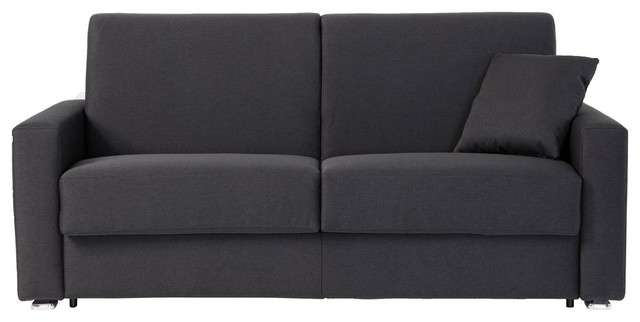 Italian Modern Sofa Bed With Queen Size Mattress, Dark Gray Modern Sleeper  Sofas