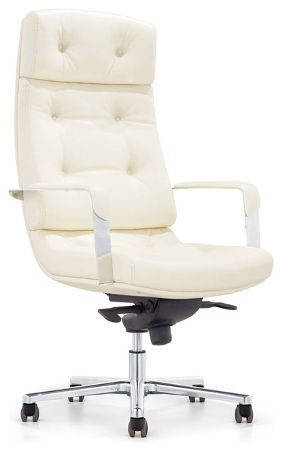 cream office chair zuri furniture perot genuine leather aluminum base high 13617 | contemporary office chairs