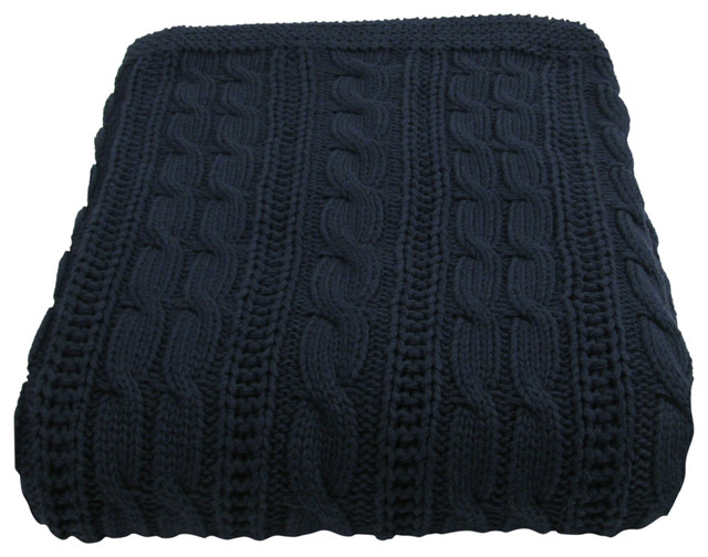 Cotton Cable Throw, Navy.