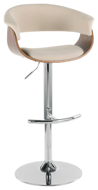 Lumisource Vintage Mod Barstool Walnut + Cream, Walnut/Cream