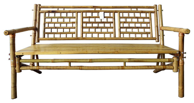 Standard Square Pattern Bamboo Bench Asian Indoor Benches