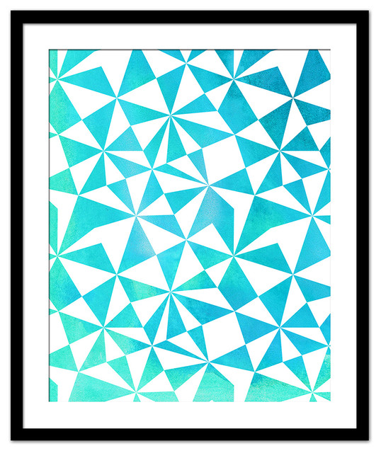 Turquoise Abstract Geometric Print Contemporary Prints