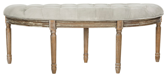 Abilene Tufted Rustic Semi Circle Bench, Gray. -1