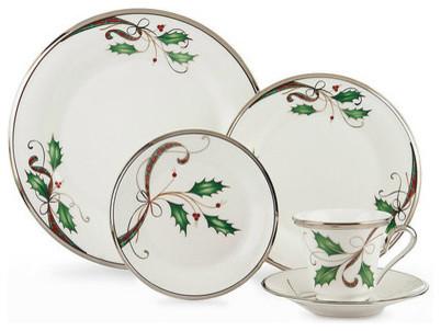 Lenox Holiday Nouveau Platinum White Christmas China for 8 ...