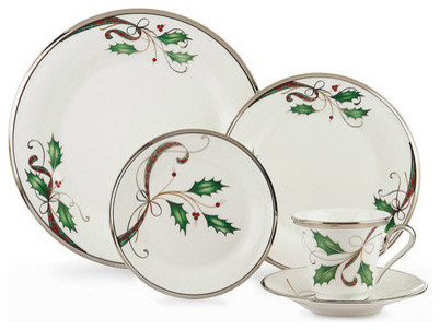 lenox holiday nouveau platinum white christmas china for 8 - Christmas China Sets
