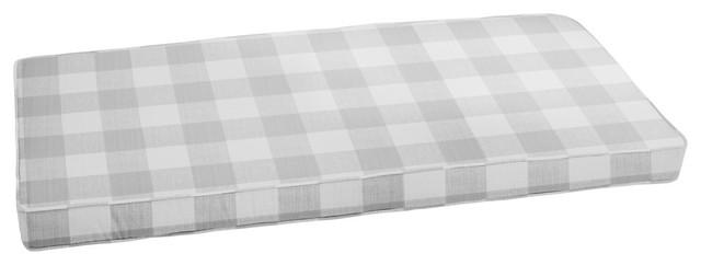 Stewart Gray Buffalo Plaid Bench Cushion 48x19 Farmhouse Outdoor Cushions And Pillows By Mozaic Company