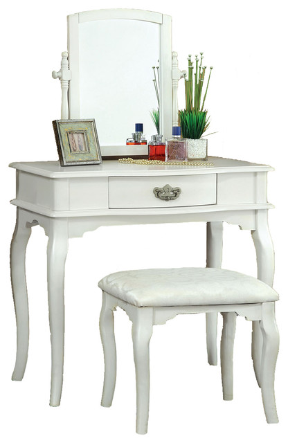 Mirrored Vanity Table And Stool: - Large Swivel Mirror Make-Up Table, Upholstered Stool 3
