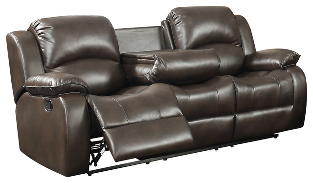Samara Reclining Sofa With Dual Recliners And Center Drop Down Table