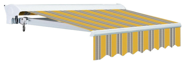 14 Ft Luxury Semi-Cassette Easy-Pitch Retractable Awning, Yellow/gray Stripes.