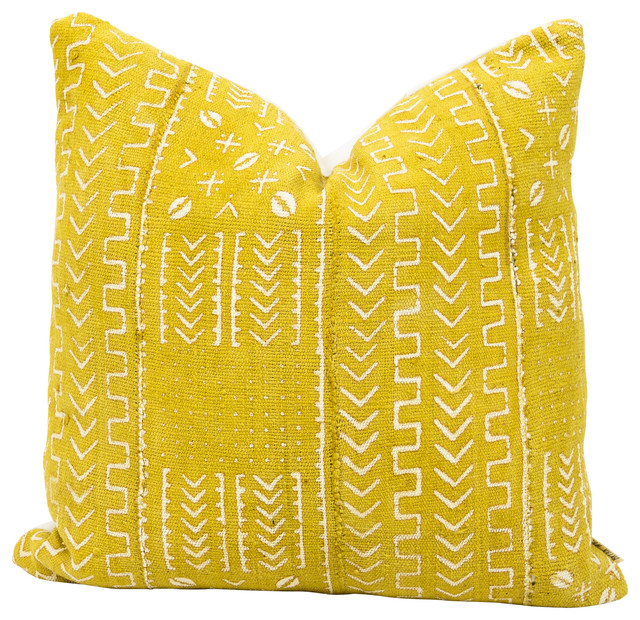 Ras Decorative Pillow, Authentic Mustard Colored African Mud Cloth.