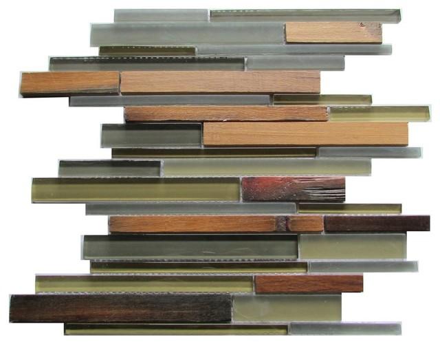 "12""x12"" Ambergris Reed Glass Mosaic, Set of 10"