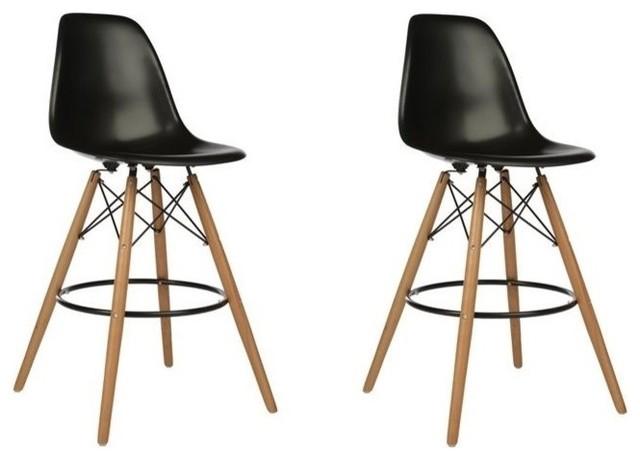 Wondrous Dsw Black Mid Century Modern Plastic Bar Stool Wood Eiffel Legs Set Of 2 Spiritservingveterans Wood Chair Design Ideas Spiritservingveteransorg