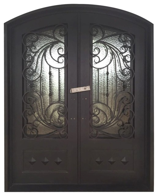 Round Top Dimensional Panel Dual Door Frame And Threshold 62 X81 Matte