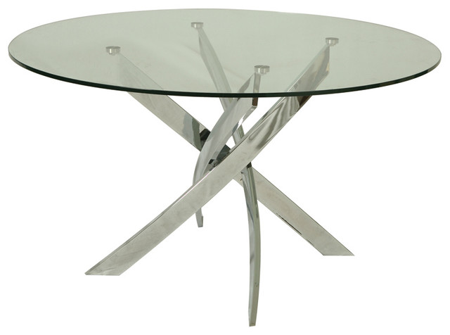 Pastel Fahrenheit Round Glass Dining Table With Chrome Base Contemporary