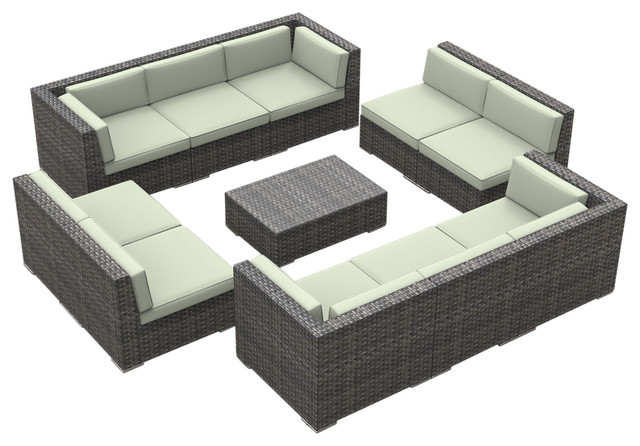 Bermuda Outdoor Patio Furniture Sofa Sectional, 11-Piece Set, Beige