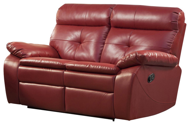 Homelegance Wallace Leather Double Reclining Loveseat Traditional Loveseats By Beyond Stores