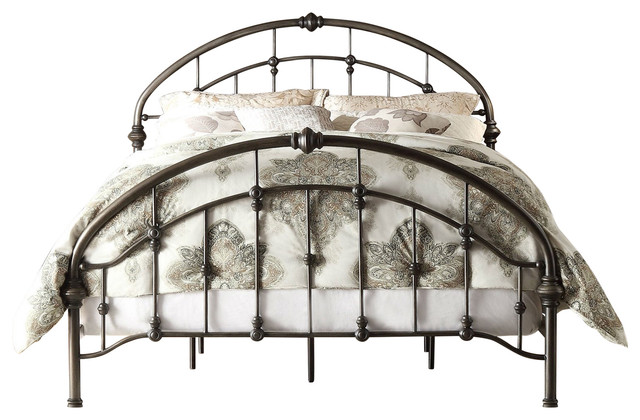 King Size Antique Dark Bronze Metal Bed With Arch Headboard And