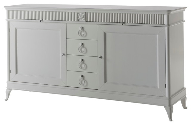 Wooden Sideboard With 6 Drawers, White