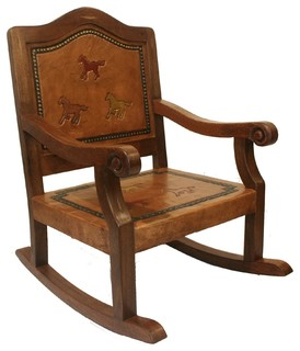 Kids Leather & Wood Rocking Chair w Hand-Tooled Running Horses