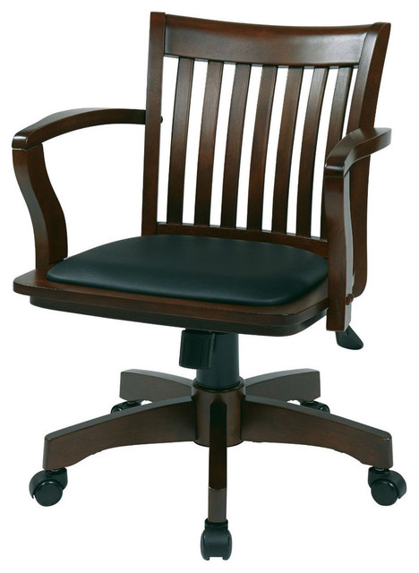 Espresso Bankers Chair With Black Vinyl Padded Seat And Wood Arms  Transitional Office Chairs
