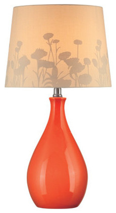 Edaline 1-Light Table Lamps, Orange Ceramic.
