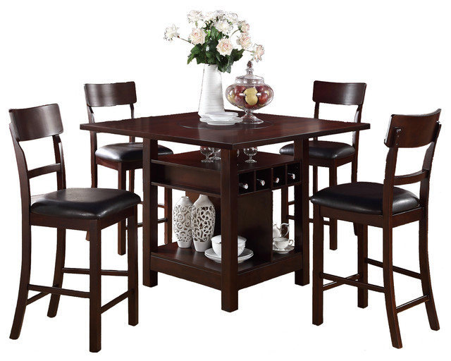 Rosy Brown 5 Piece Counter Height Set Square Table Lazy Susan Wine Storage Modern Indoor Pub And Bistro Sets on Dining Room Sets Counter Height Table