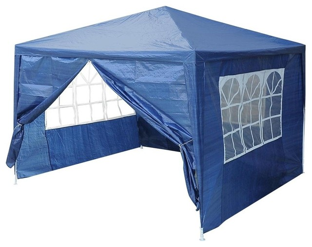 10&x27;x10&x27; Outdoor Party Tent Pavillion With 4 Side Walls, Blue