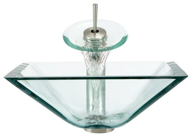 Polaris Sinks P306-Cr-Wf-Bn Crystal Vessel Sink And Faucet In Brushen Nickel