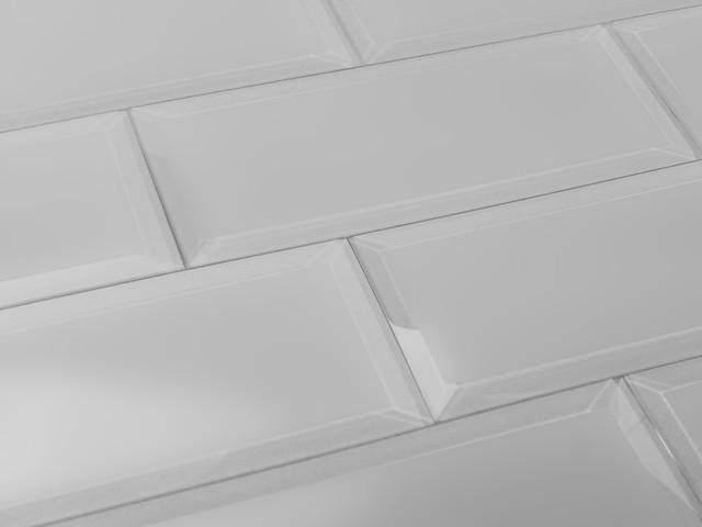 3x12 Gray Matte Josephine Beveled Glass Subway Tile