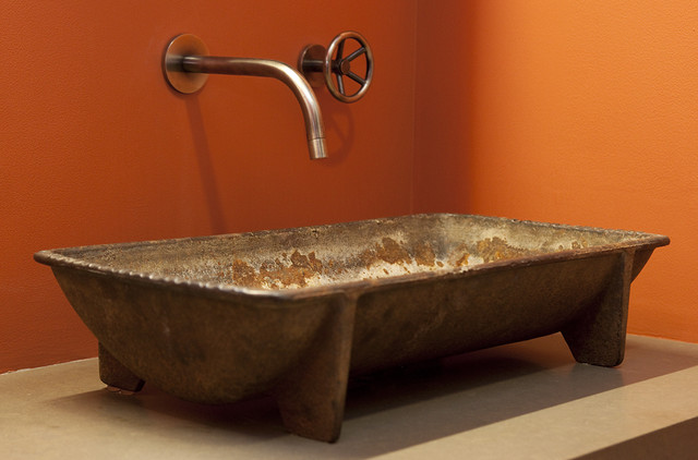 Industrial Industrial Bathroom. A Crash Course in Bathroom Faucet Finishes