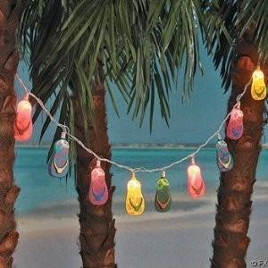 10 Plastic Flip Flop Party String Lights Beach Luau