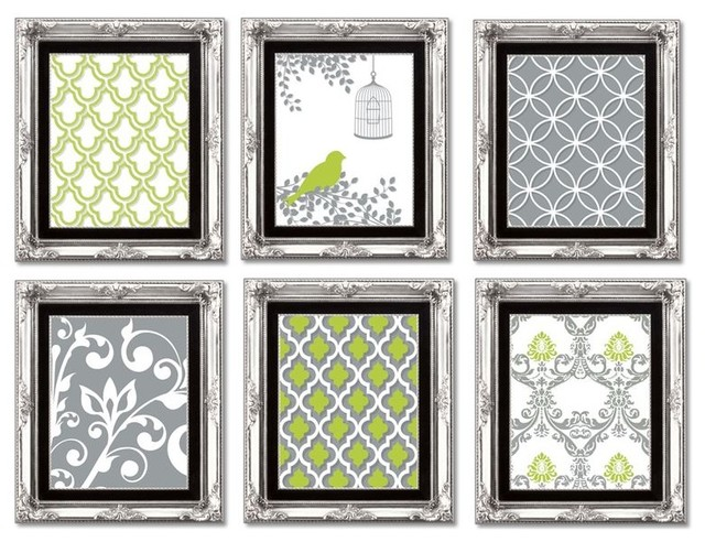 Gallery Wall Art Arrangement In Lime Green Grey And White