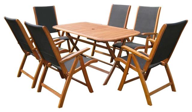 Royal Tahiti Zamora 7-Piece Dining Group,brown Stain