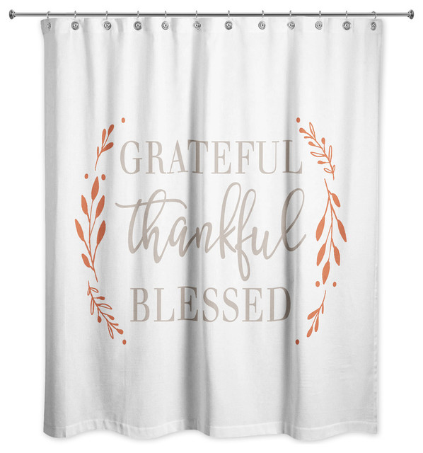 Grateful Thankful Blessed Shower Curtain Contemporary Shower Curtains By Designs Direct
