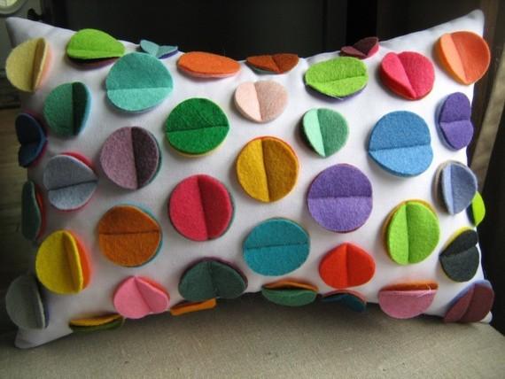 Multicolor Rainbow Felt Disc Pillow by DeDe