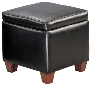 Faux Leather Storage Cube Ottoman Footstool By Coaster, Black