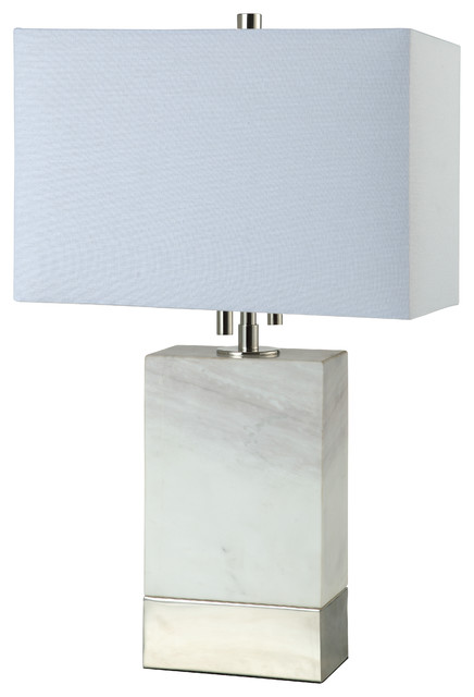 "20"" Rectangle Marble Table Lamp, Polished Nickel."
