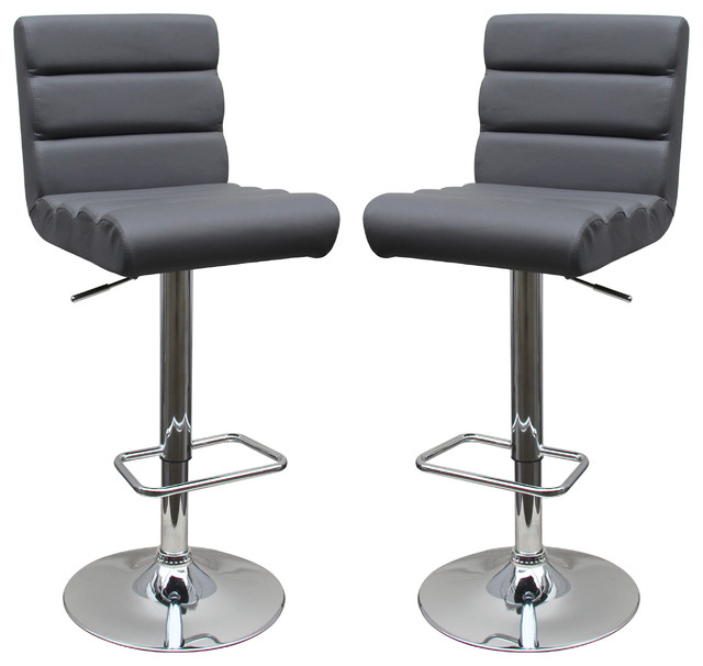 Modern Adjustable Swivel Faux Leather Bar Stools Set Of 2