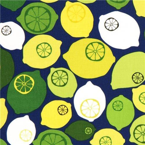 dark blue lemon fruit fabric by Robert Kaufman