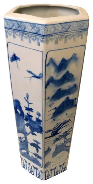 Hexagon Blue Bird Porcelain Umbrella Stand 24